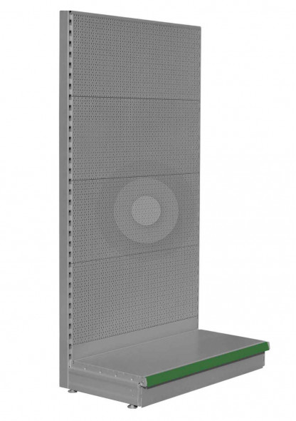 Silver pegboard shelving end bay for gondola ends