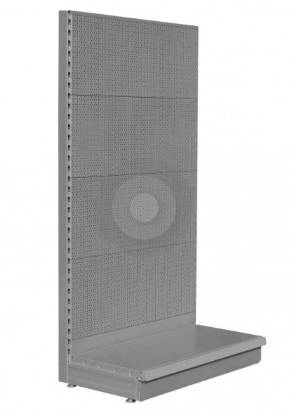 RAL9006 Silver pegboard shelving end bay