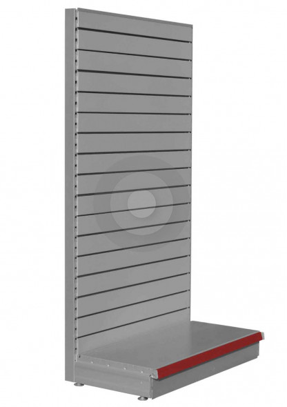 Silver shop shelving end bay with slatwall back panels