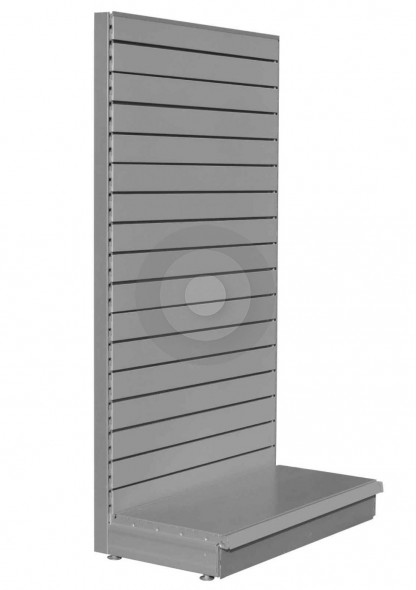 Silver shelving end bay with slatwall back panels for slatwall hooks