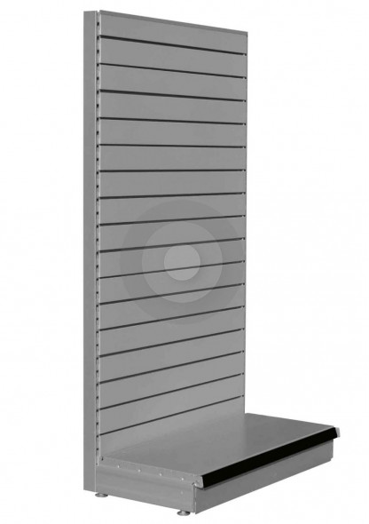 Silver shelving end bay with slatwall back panels