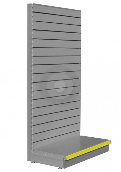 SWSF Silver shelving end bay with slatwall back panels
