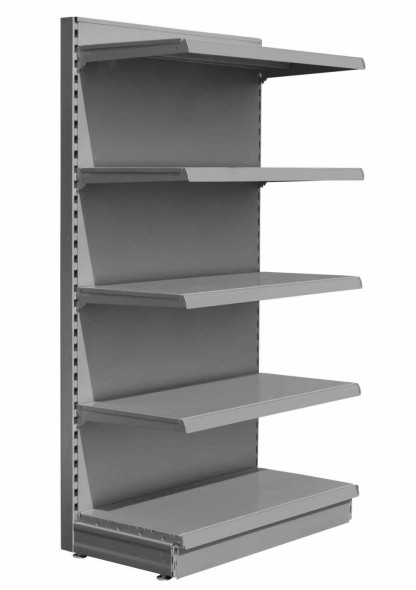 Silver maximum display wall retail shelving