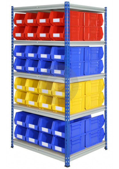 double sided plastic storage bin racking