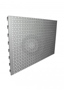 silver perforated pegboard back panel
