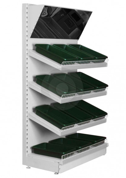 shelving with mirror canopy and green trays
