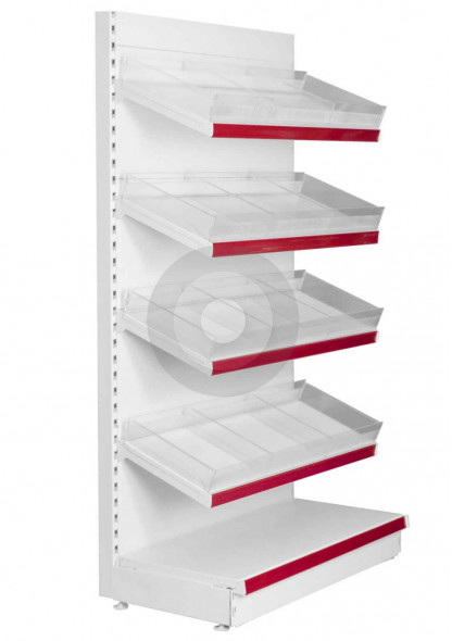 shop shelving with risers and dividers