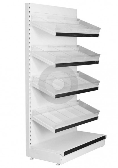 wall shop shelving with plastic risers and dividers to compartmentalise the shelves