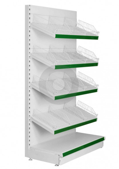 supermarket shelving with wire risers and shelf dividers