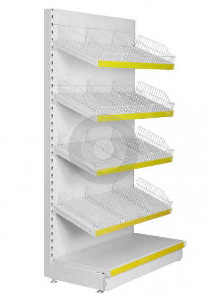 Shop shelving with wire risers and dividers on the upper shelves