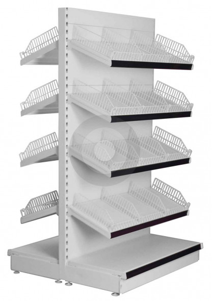 gondola shelving with sloping shelves