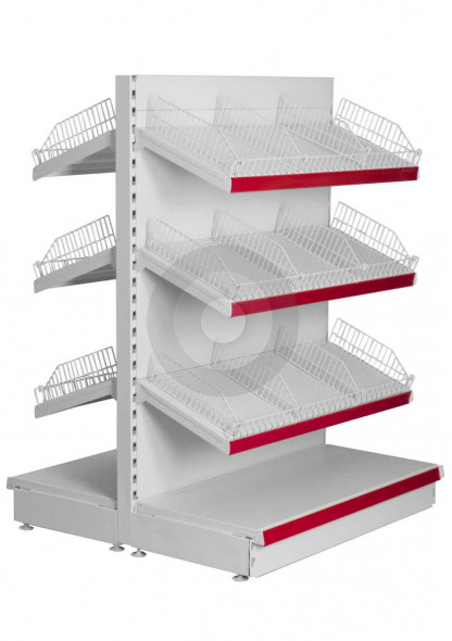 supermarket gondola with wire risers and dividers