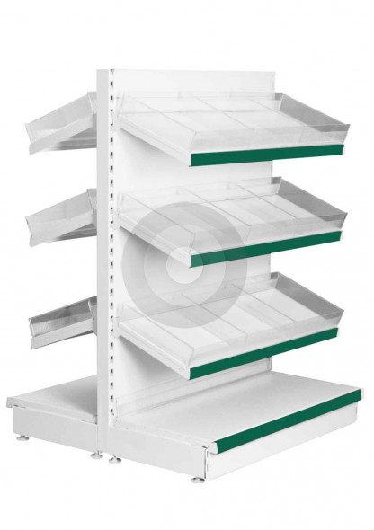 double sided shop shelving with risers and dividers