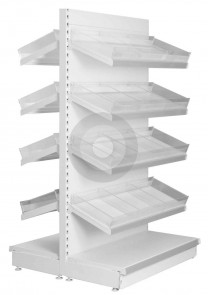 Gondola Shelving with Plastic Risers and Dividers (Base + 4)