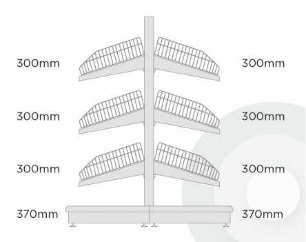 Shallow Gondola Shelving - Low (base + 3) With Wire Risers & Dividers