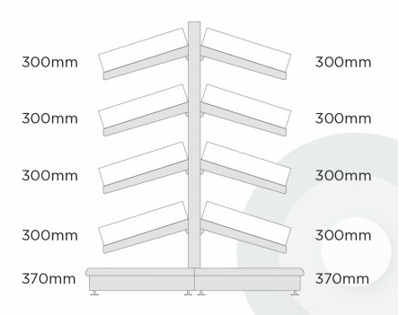 Shallow Gondola Shelving (base +4) With Plastic Risers & Dividers