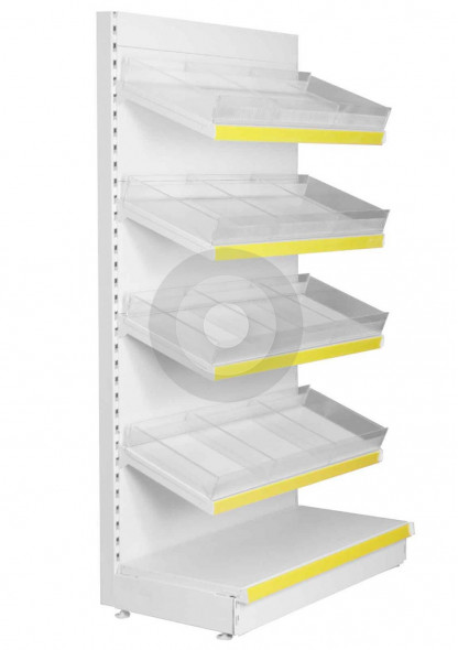 Shop shelving with plastic risers and dividers