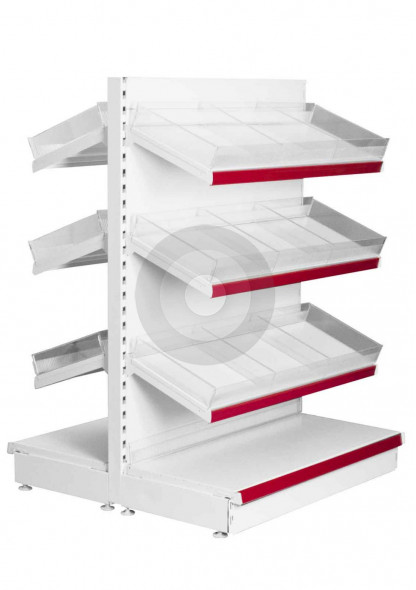 Low Gondola shelving with plastic risers and dividers