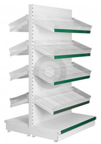 Gondola shelving with plastic risers and dividers