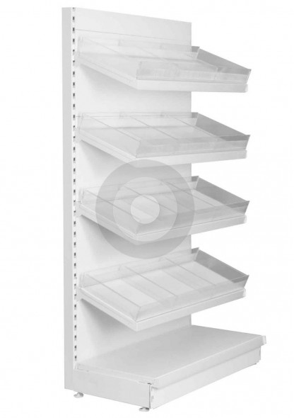 supermarket wall shelving with risers and dividers