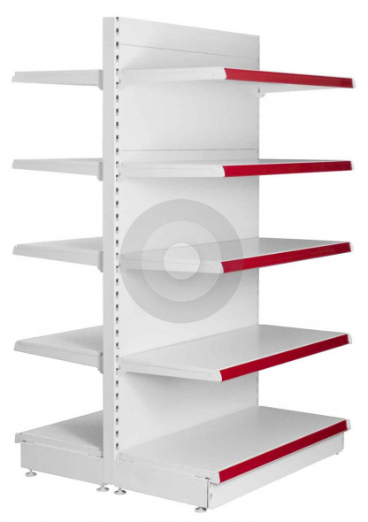 tall gondola shelving with all shelves the same size