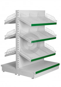 Gondola Shelving with Wire Risers and Dividers (Base + 3)