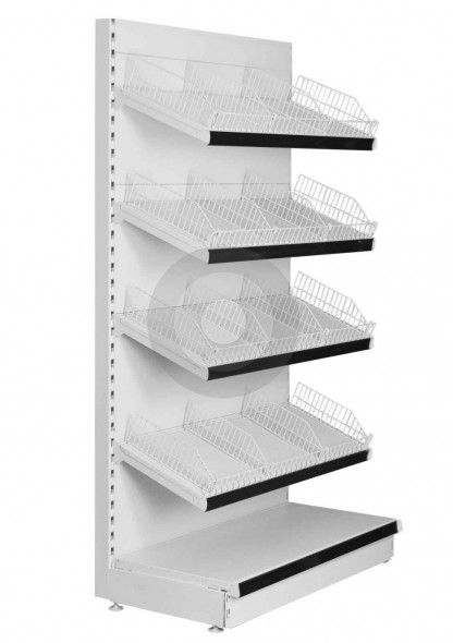 wall shop shelving with shelf risers and dividers