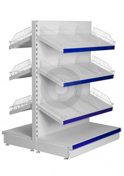 shelving with wire risers and dividers
