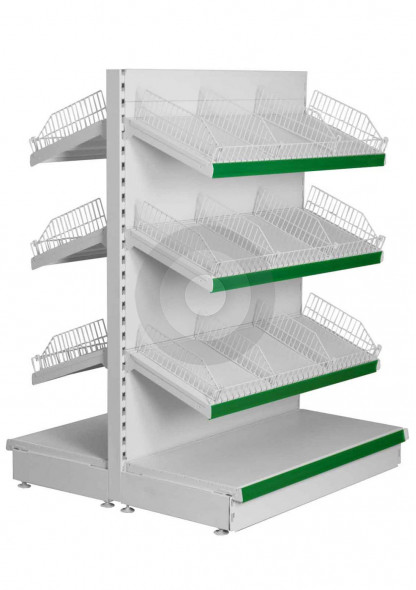 Gondola shelving with wire risers and dividers