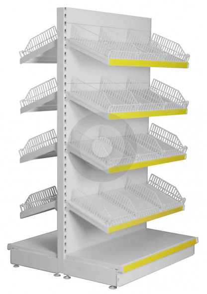 Tall Gondola shelving with wire risers and dividers