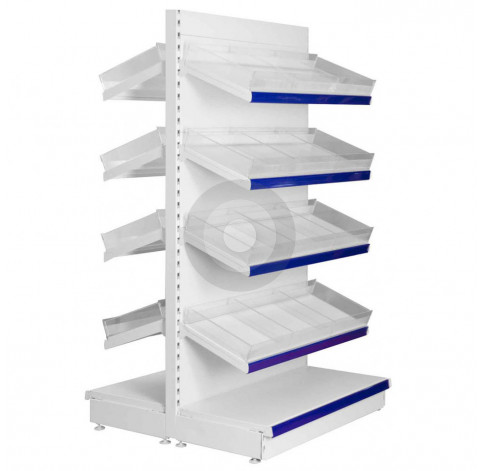 tall gondola shelving with plastic risers and dividers