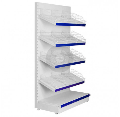 wall shop shelving with wire risers and dividers