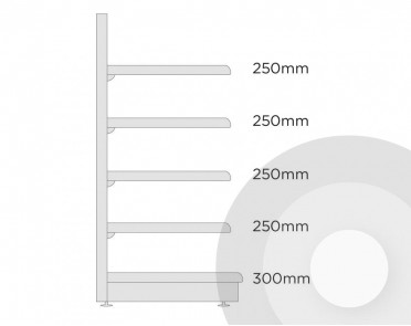 extra shallow wall shelving diagram