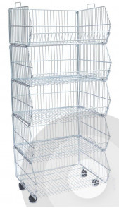 5 stackable wire baskets on wheels