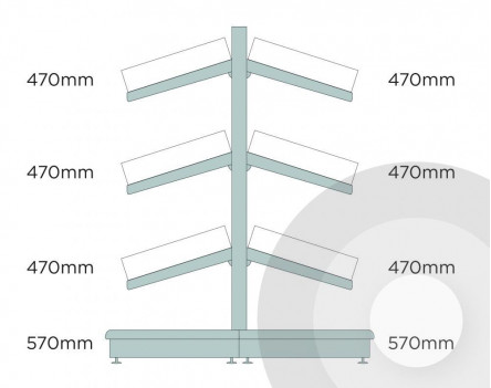Deep Gondola Shelving (base + 3) With Plastic Risers & Dividers Silver (RAL9006)