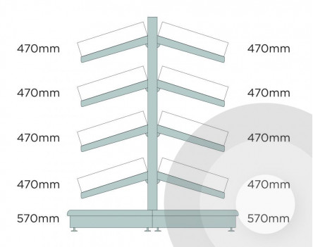Deep Gondola Shelving (base +4) With Plastic Risers & Dividers Silver (RAL9006)