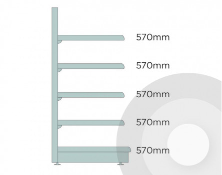 Deep Maximum Display Wall Shelving Silver (RAL9006)