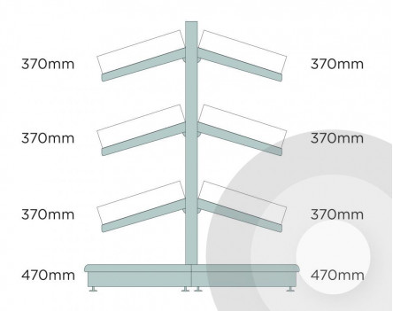 Medium Gondola Shelving (base + 3) With Plastic Risers & Dividers Silver (RAL9006)