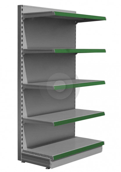 Silver store shelving end bay