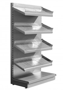 Wall Shelving with Plastic Risers and Dividers - Silver (RAL9006)