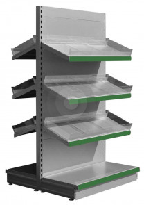 Gondola Shelving with Plastic Risers and Dividers (Base + 3) - Silver (RAL9006)