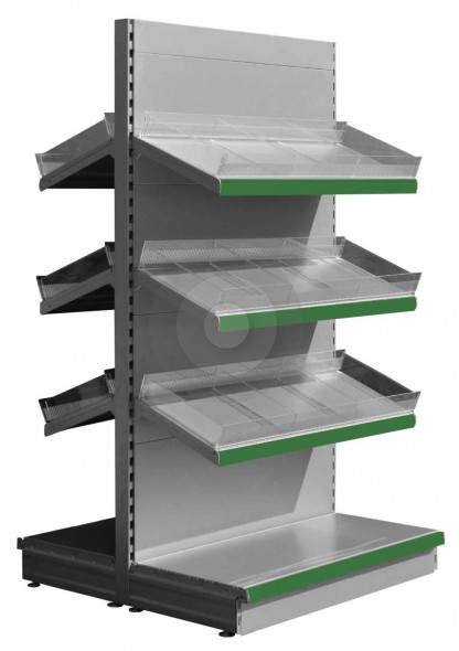 Silver gondola shelving with plastic risers and dividers and green epos