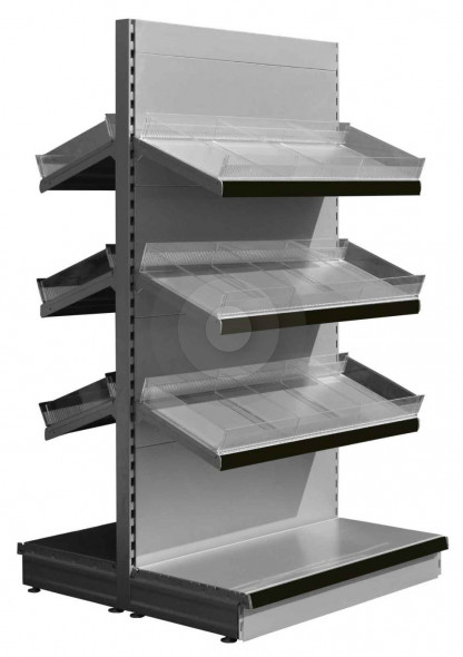 RAL9006 gondola shelving with plastic risers and dividers