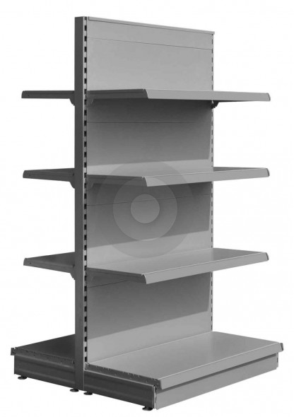 silver low gondola shelving