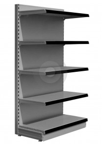 silver shop shelving with all shelves the same size