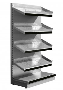 silver wall shelving with plastic risers and dividers
