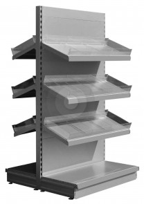 silver low gondola shelving with plastic risers and dividers