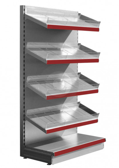 silver supermarket shelving with plastic risers and dividers