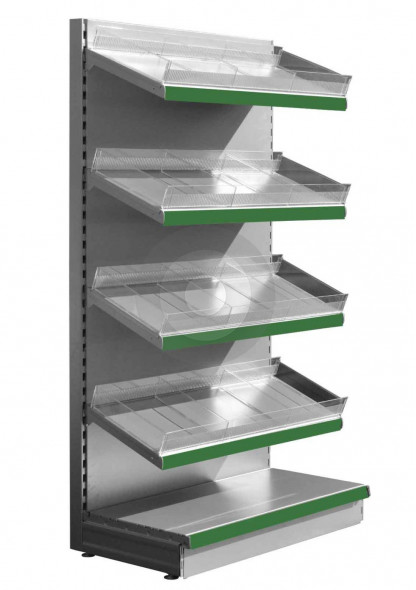 silver retail shelving with plastic risers and dividers