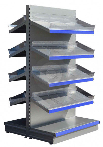 RAL9006 Silver tall gondola shelving with plastic toothed risers and plain dividers